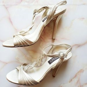 Badgley Mischka Braided Gold Leather Heels
